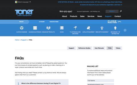 Screenshot of FAQ Page tonercable.com - FAQs for Cable TV; FAQs for CATV | Toner Cable - captured Oct. 7, 2014