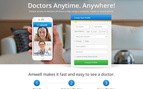 Screenshot of Landing Page amwell.com - Sign up for Amwell and consult a Doctor, Therapist, or Nutritionist Online - Amwell - captured May 24, 2016