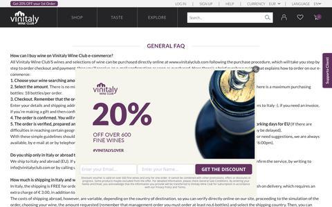 Screenshot of FAQ Page vinitalyclub.com - FAQ | Vinitaly Wine Club - captured Nov. 13, 2018