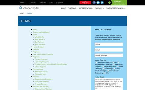 Screenshot of Site Map Page vilcap.com - Village Capital  | Sitemap - captured Sept. 23, 2014