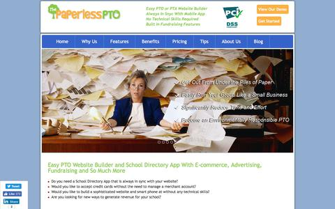 Screenshot of Home Page paperlesspto.com - PTA PTO Website Builder & School Directory App With Advertising and Fundraising Revenue For Your School - captured Nov. 16, 2017
