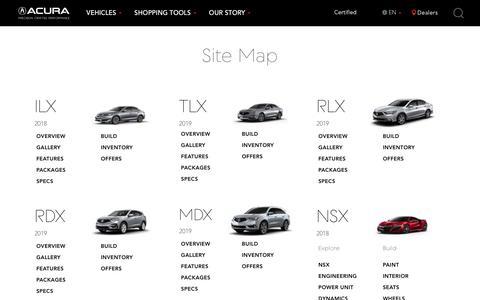 Screenshot of Site Map Page acura.com - Acura Site Map | Acura.com - captured Sept. 21, 2018
