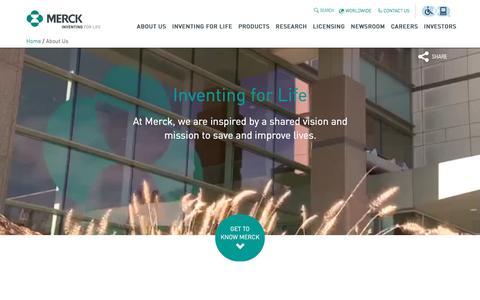 Screenshot of About Page merck.com - Merck | About - captured April 13, 2018