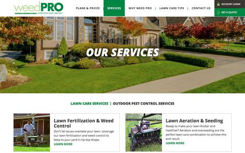 Screenshot of Services Page weed-pro.com - Lawn Care Services | Lawn Care Treatments - captured March 1, 2018