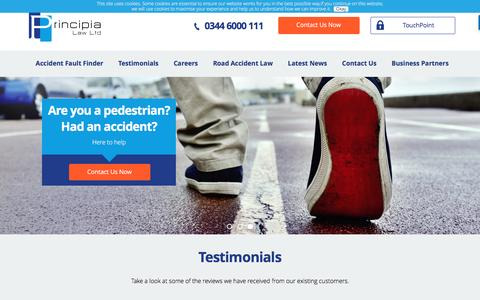Screenshot of Testimonials Page principia-law.co.uk - Testimonials & Reviews || Principia law - captured July 16, 2016