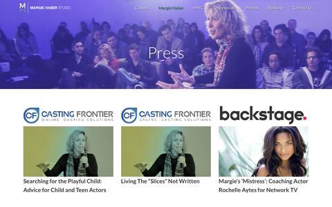 Screenshot of Press Page margiehaber.com - Margie Haber Studio |   Press - captured Feb. 12, 2016