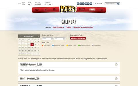 Screenshot of Pricing Page moreyspiers.com - Calendar · Morey's Piers & Beachfront Water Parks - captured Nov. 10, 2016