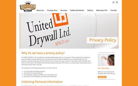 Screenshot of Privacy Page uniteddrywall.com - United Drywall Privacy Policy :: A Calgary Drywall Company Protecting - captured Dec. 2, 2016