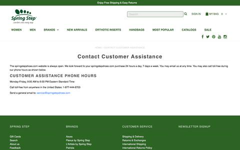 Screenshot of Support Page springstepshoes.com - Contact Customer Assistance – Spring Step Shoes - captured June 30, 2018