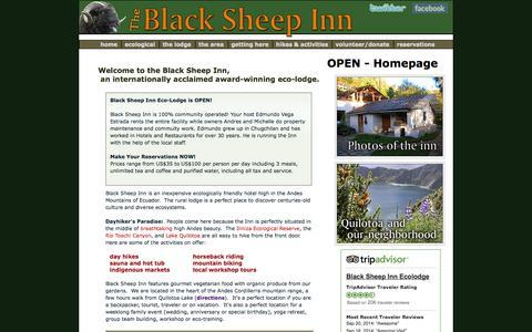 Screenshot of Home Page blacksheepinn.com - Black Sheep Inn: Ecuador Eco-Lodge, Bed & Breakfast, Hotel, Eco Resort - captured Oct. 5, 2014