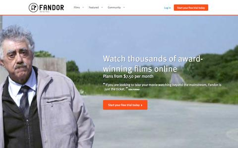 Screenshot of Home Page fandor.com - Watch Movies and Documentary Films Anywhere You Want | Fandor - captured Oct. 23, 2015