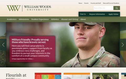 Screenshot of Home Page williamwoods.edu - William Woods University  | flourish! - captured Sept. 27, 2018