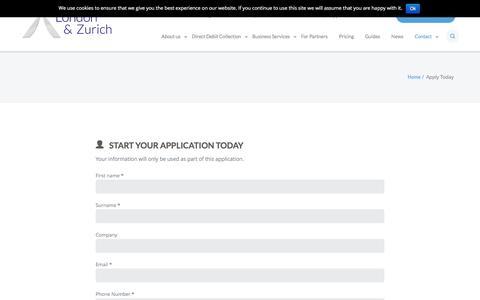 Screenshot of Signup Page landz.co.uk - Apply Today - London & Zurich - captured Sept. 19, 2016