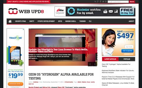 Screenshot of Home Page webupd8.org - Web Upd8: Ubuntu / Linux blog - captured Sept. 18, 2014
