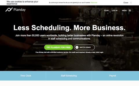 Screenshot of Home Page planday.com - Less Scheduling. More Business. - Planday - captured Jan. 26, 2015