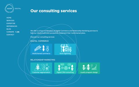Screenshot of Services Page azurdigital.com - Multichannel Consulting Services | Azur Digital - Dubai, UAE - captured Dec. 28, 2015