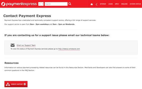Screenshot of Contact Page paymentexpress.com - Payment Express | Contact | EFTPOS | Payment Gateway | Online Credit & Debit Card Processing - captured July 7, 2019