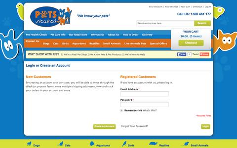 Screenshot of Login Page petsunleashed.com.au - Customer Login | your online pet shop - captured Jan. 27, 2016