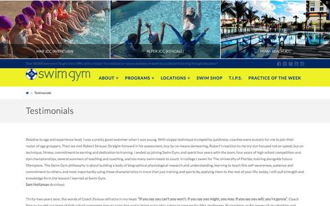 Screenshot of Testimonials Page swimgym.net - Testimonials | SWIM GYM - captured Feb. 22, 2016