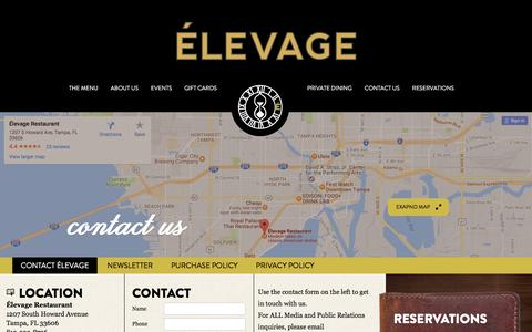 Screenshot of Contact Page Maps & Directions Page Hours Page elevagerestaurant.com - Contact Élevage Restaurant at the Epicurean Hotel, Tampa, FL - captured Jan. 4, 2017