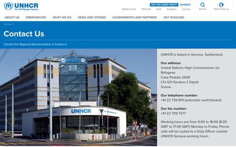 Screenshot of Contact Page unhcr.org - UNHCR- Contact Us - captured Nov. 28, 2018
