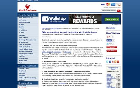 Screenshot of FAQ Page creditcards.com - Online credit card applications: FAQ about CreditCards.com and your card application - captured Sept. 13, 2014