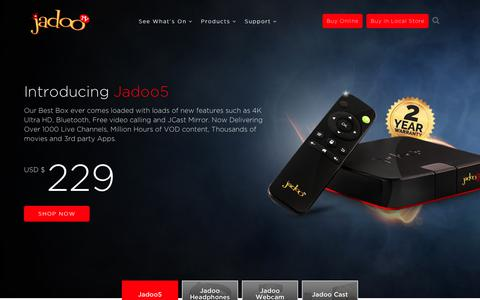Screenshot of Home Page jadootv.com captured June 8, 2017