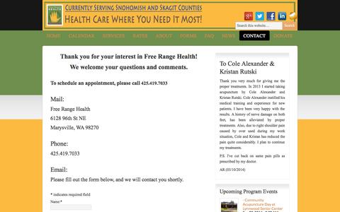 Screenshot of Contact Page freerangehealth.org - Contact | Free Range Health - captured Sept. 30, 2014