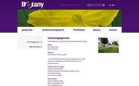 Screenshot of Contact Page botany.nl - Botany - Contact - Contactgegevens - captured Oct. 5, 2014