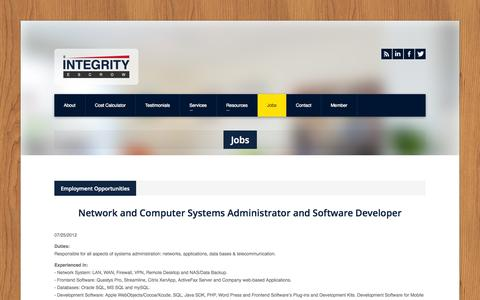 Screenshot of Jobs Page intescrow.com - Integrity Escrow » Jobs - captured Oct. 6, 2014