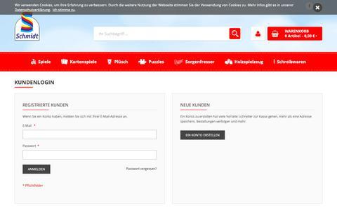Screenshot of Login Page schmidtspiele-shop.de - Kundenlogin - captured Oct. 5, 2018