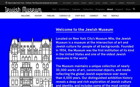Screenshot of About Page Contact Page thejewishmuseum.org - The Jewish Museum - About - captured Oct. 20, 2018
