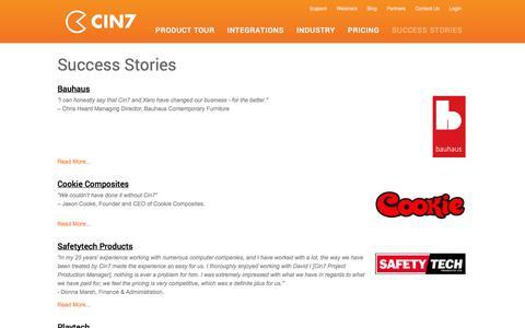 Screenshot of Case Studies Page cin7.com - Success Stories   Customer Testimonials   Online Seamless Inventory and POS system - Cin7 - captured Oct. 30, 2014