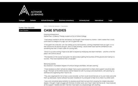 Screenshot of Case Studies Page activatelearning.ac.uk - Case studies   Activate Learning - captured Sept. 30, 2014