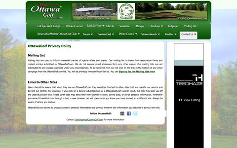 Screenshot of Privacy Page ottawagolf.com - OttawaGolf - Privacy Policy - captured Oct. 30, 2014