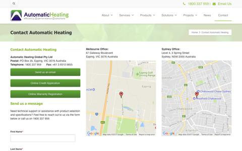 Screenshot of Contact Page automaticheating.com.au - Contact Automatic Heating in Australia - captured Oct. 9, 2017