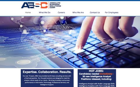 Screenshot of Services Page absc-us.com - Absolute Business Solutions Corp - captured Oct. 4, 2014