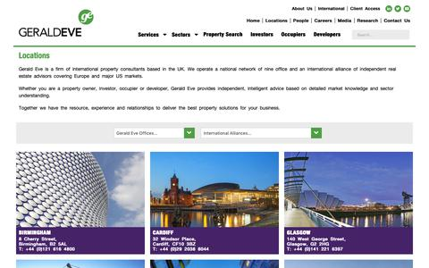Screenshot of Locations Page geraldeve.com - Offices for Property Consultant Services - Gerald Eve - captured Nov. 3, 2018