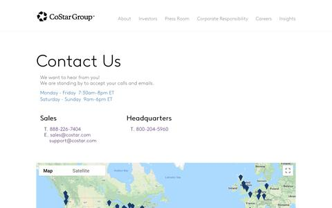 Screenshot of Contact Page costargroup.com - Contact - captured Aug. 17, 2018