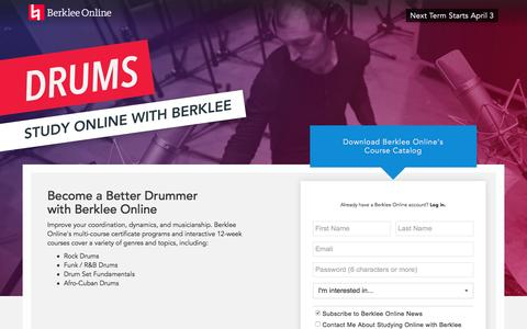 Screenshot of Landing Page berklee.edu - Study Drums with Berklee Online - captured Feb. 4, 2017