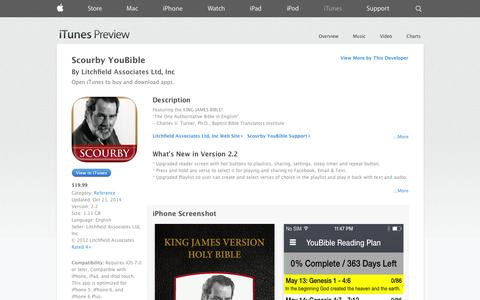 Screenshot of iOS App Page apple.com - Scourby YouBible on the App Store on iTunes - captured Oct. 27, 2014