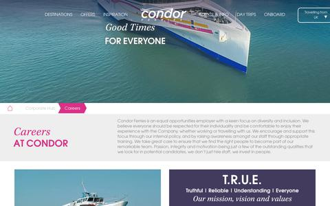 Screenshot of Jobs Page condorferries.co.uk - Condor Ferries | People and culture - captured July 21, 2018