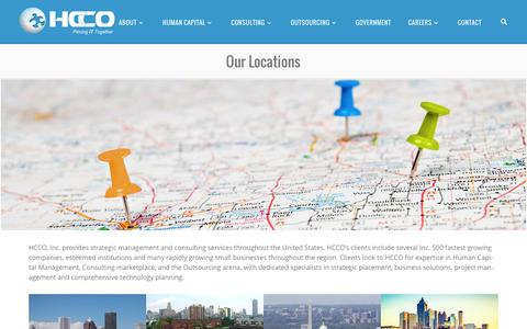 Screenshot of Locations Page hccoinc.com - Our Locations - HCCO, Inc. - captured Dec. 5, 2015