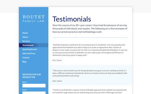 Screenshot of Testimonials Page boutetfamilylaw.com - Testimonials - Boutet Family Law - captured June 2, 2017