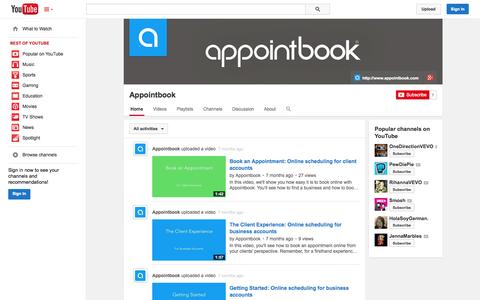 Screenshot of YouTube Page youtube.com - Appointbook  - YouTube - captured Oct. 23, 2014