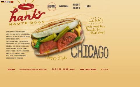 Screenshot of Home Page hankshautedogs.com - Hanks Haute Dogs - captured Sept. 29, 2014