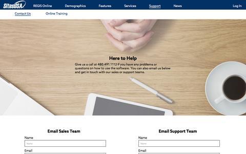 Screenshot of Support Page sitesusa.com - Support - captured July 22, 2016