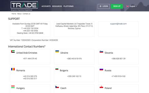 Screenshot of Contact Page trade.com - Contact us | TRADE.com - captured June 22, 2017