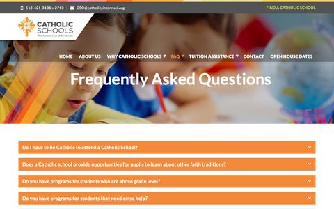 Screenshot of FAQ Page catholicbestchoice.org - Frequently Asked Questions - Catholic Schools — The Archdiocese Of Cincinnati - captured March 7, 2017