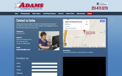 Screenshot of Contact Page adamsplumbingcompany.com - Contact Adams Plumbing & Drain - Mobile, AL   251-473-1279 - captured Nov. 2, 2014